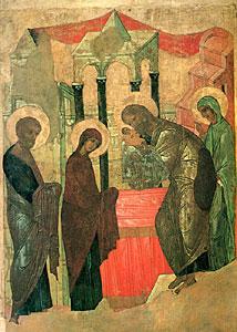 Сретение. Икона. Начало 15 в. Государственный Русский музей, Санкт-Петербург