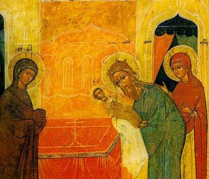 Сретение. Икона. Сретение. Икона. 16 в., Новгород. Музей икон в Амстердаме