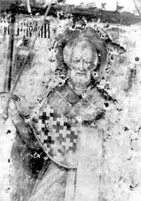 Икона Святителя Николая на Никольской башне Московского Кремля, растрелянная большевиками