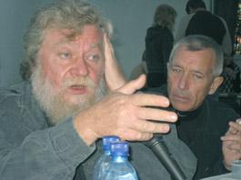 В. Алейников и С. Соколов на вечере СМОГа