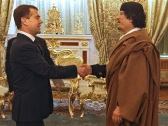 Дмитрий Медведев и Муамар Каддафи (фото AFP)