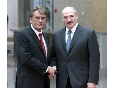 Президенты Украины и Белоруссии Виктор Ющенко и Александр Лукашенко