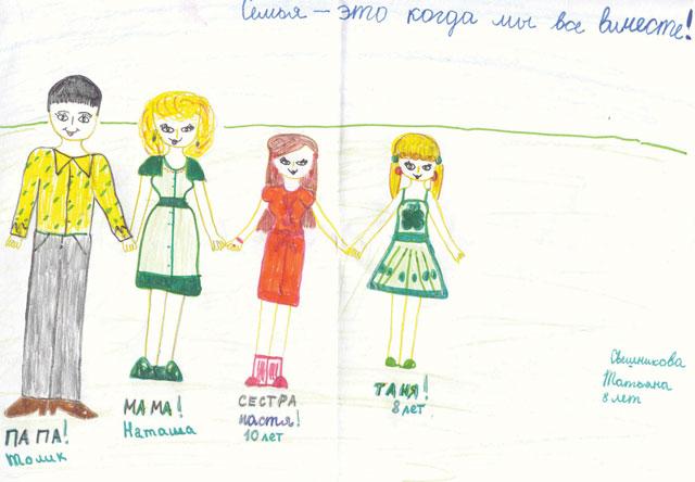 Семья – это когда мы все вместе (детский рисунок)