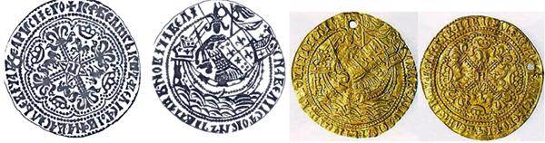 Корабельник. Золотая монета времен Великого Князя Ивана Васильевича (годы великого княжения 1462-1505 гг.)