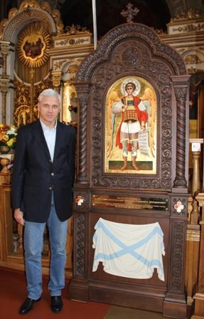 Александр Алекаев у Дроздовского киота в Свято-Екатерининском кафедральном соборе Екатеринодара