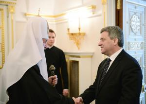 Патриарх Кирилл и президент Македонии Георге Иванов