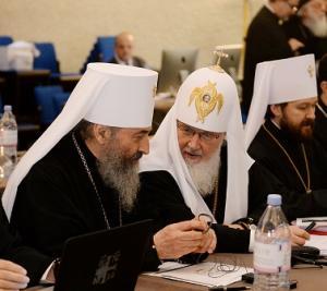 Святейший Патриарх Кирилл и Блаженнейший Митрополит Онуфрий на синаксисе глав Поместных Церквей в Женеве