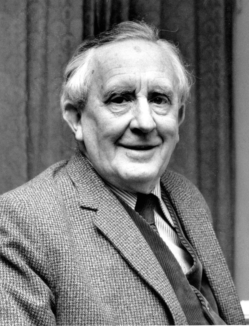 This is a 1967 photo of J.R.R. Tolkien. Tolkien is the author of
