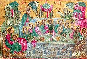 Тайная вечеря. Миниатюра из греко-грузинской рукописи XV в.