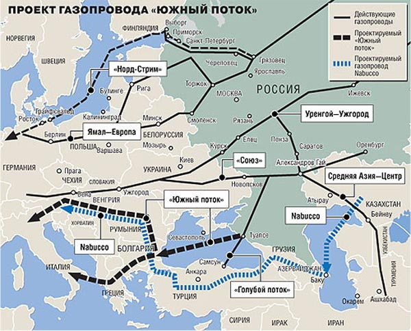 План газопроводов Россия – Европа