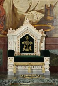 Трон патриарха Пимена в алтаре современного Храма Христа Спасителя
