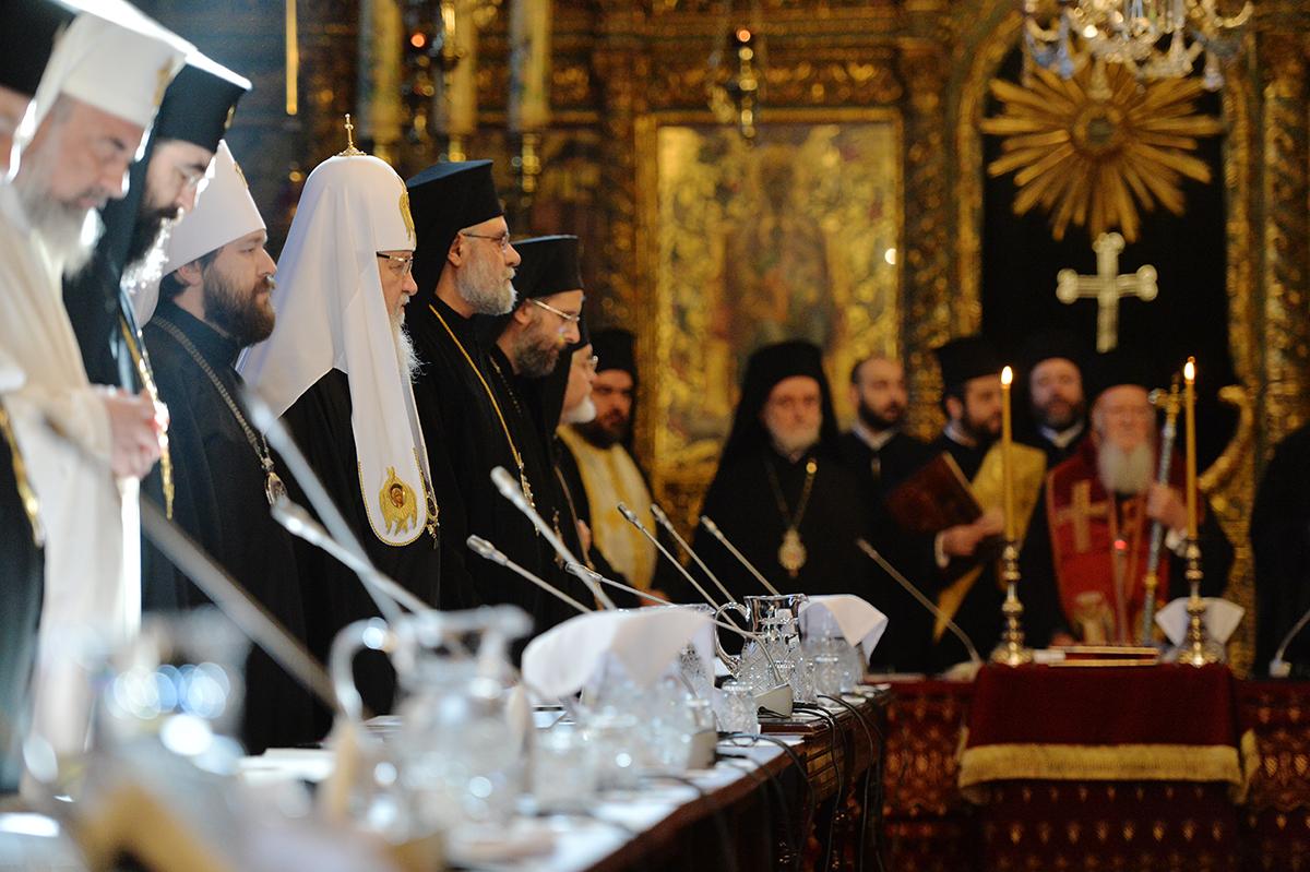 Визит Святейшего Патриарха Кирилла в Константинопольский Патриархат. Первое заседание синаксиса Предстоятелей и представителей Поместных Православных