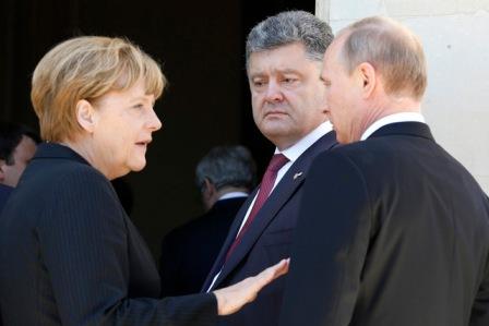 Ангела Меркель, Владимир Путин и Петр Порошенко