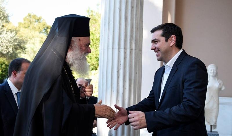 Алексис Ципрас и Архиепископ Афинский Иероним