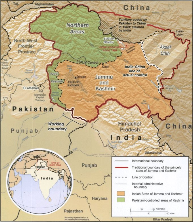 Карта Кашмира и спорных территорий