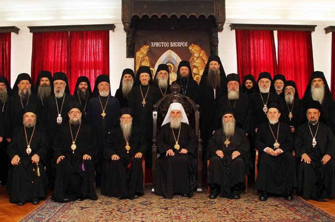 Архиереи Сербской Православной Церкви во главе с Патриархом Иринеем