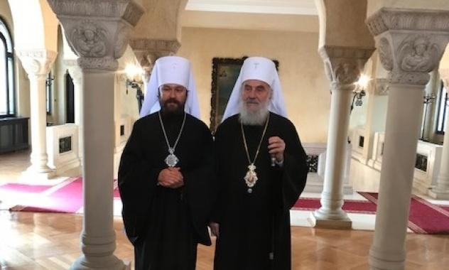 Патриарх Сербский Ириней и митрополит Волоколамский Иларион