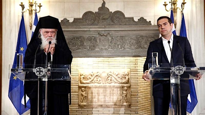 Премьер-министр Алексис Ципрас и Архиепископ Афинский Иероним