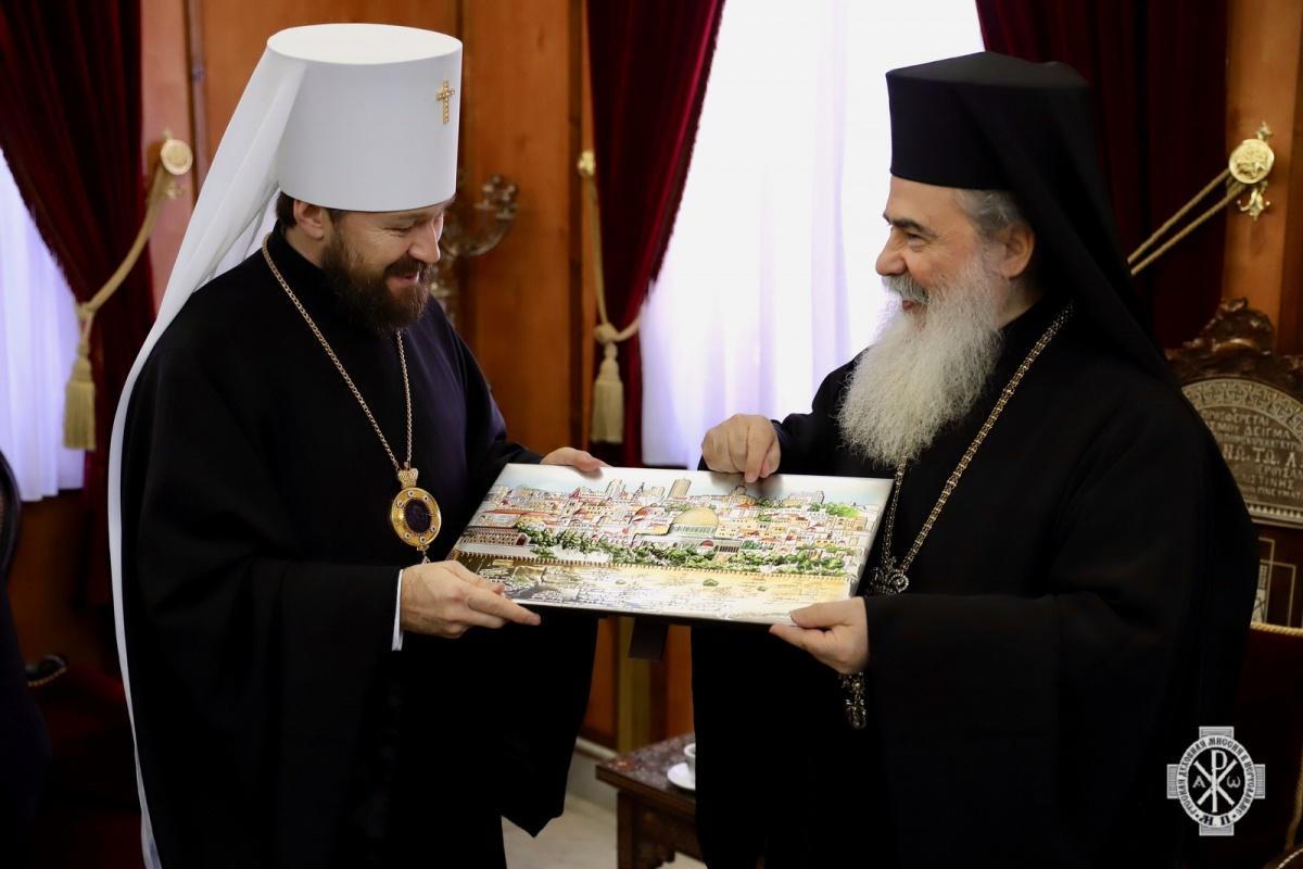 Патриарх Иерусалимский Феофил и митрополит Волоколамский Иларион