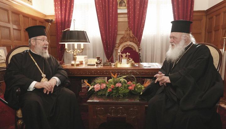 Архиепископ Кипрский Хризостом обсудил украинскую проблему с Архиепископом Афинским Иеронимом