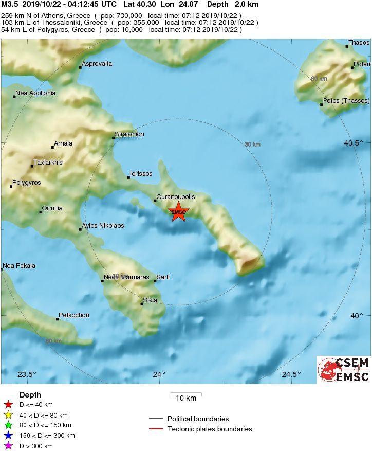 Землетрясение на Афоне