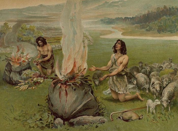 Каин и Авель приносят жертву