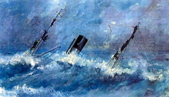 Гибель судна «Аякс». Рисунок лейтенанта Эверта – участника эвакуации